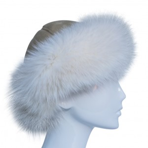 Brim Hat with White Arctic Fox Trim